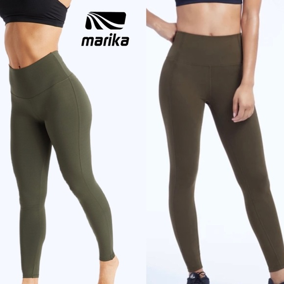 Marika Olivia Ankle High Waist Olive Leggings EUC